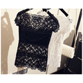 Blusa feminina Women Tops lace Sexy vest clothing short sleeve T shirt camisoles Pierced Hollow-out