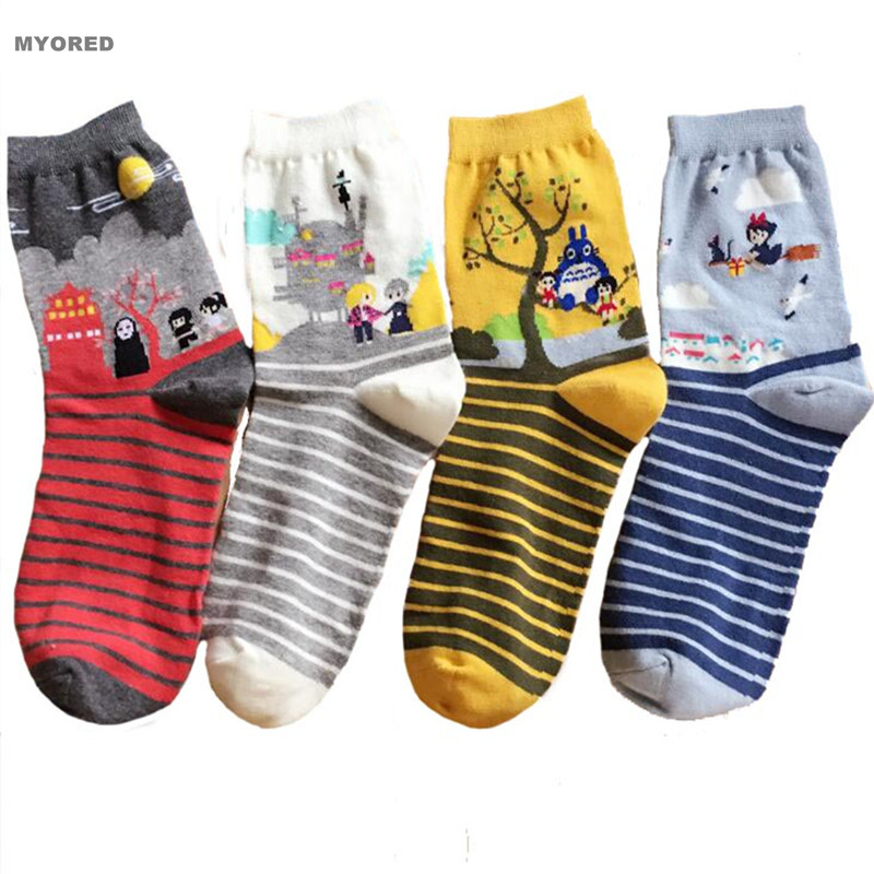 MYORED Striped Cartoon Cotton Totoro Socks Autumn Summer Girls Lady Women's Sox Fashion Short Tube Meias Female Ankle Crew Sock