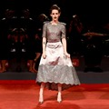 Kristen Stewart Lace Evening Dress 2017 Illusion Grey Prom Celebrity Red Carpet Gowns with Half Sleeves Celebrity Dresses CE76