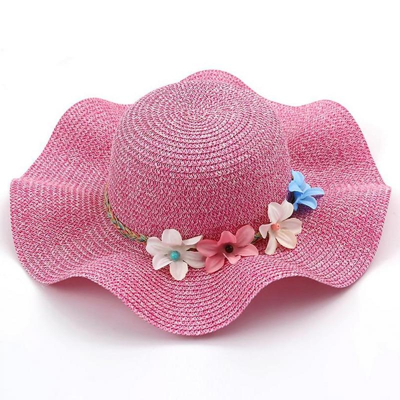 Nowa moda Dziecko Dziewczęta i Mama Słoma Kwiaty Kapelusz - Odzież dla niemowląt - Zdjęcie 3