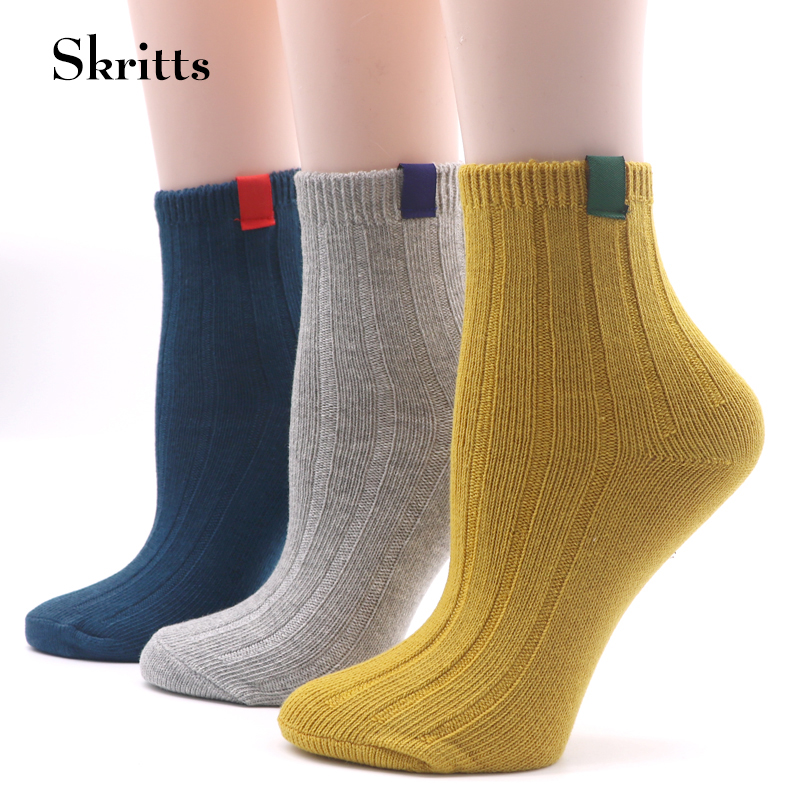 5Pair Skritts Cute Socks for Women Multicolor Short Sock Winter Autumn Warm Socks Girl Comfortable Boots Ankle Sock Compression