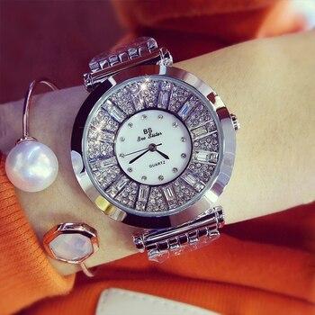 BS bee sister Women Watch Luxury Brand 2017 Fashion Designer Campaign Austrian Diamonds Watches Ladies Quartz Waterproof Watch diamond stylish watches for girls