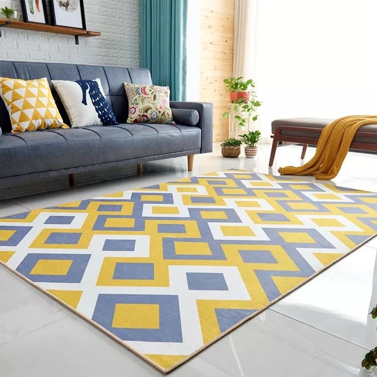 Ialj Top Geometric Flower Floor Carpet Rugs Nordic Style Children Carpet Living Room Tea Table Soft Bedroom Mat Non-slip Round Smart Electronics