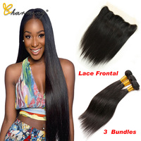 CHARMING Straight Hair Bundles With Frontal Non Remy Human Hair Bundles With Closure Brazilian Hair Weave Bundles With Closure