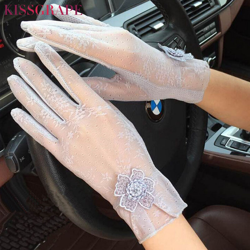 New Summer Women's Lace Gloves Touch Screen Ladies Anti-UV Anti-slip Guantes Gloves Female Car Driving Gloves Thin Mittens