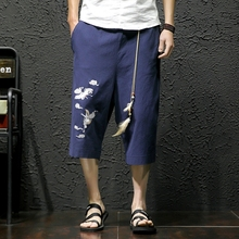Chinese Style Calf-Length Pants Crane Embroidery Mens Elastic Waist Large Size Black Khaki Gray Blue