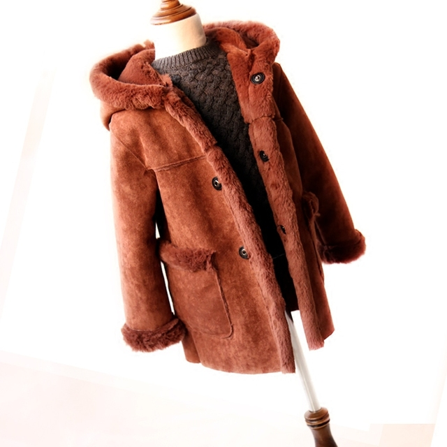 Niños abrigo chica abrigo de invierno y chaqueta 2018 gamuza con capucha  niños Chaquetas medio- 1c6311392e3