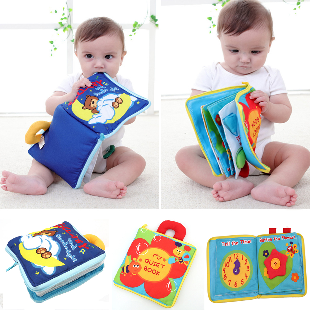 12 Pages Soft Cloth Baby Boys Girls Books Rustle Sound Infant Educational Stroller Rattle Toys For Newborn Baby 0-12 Month