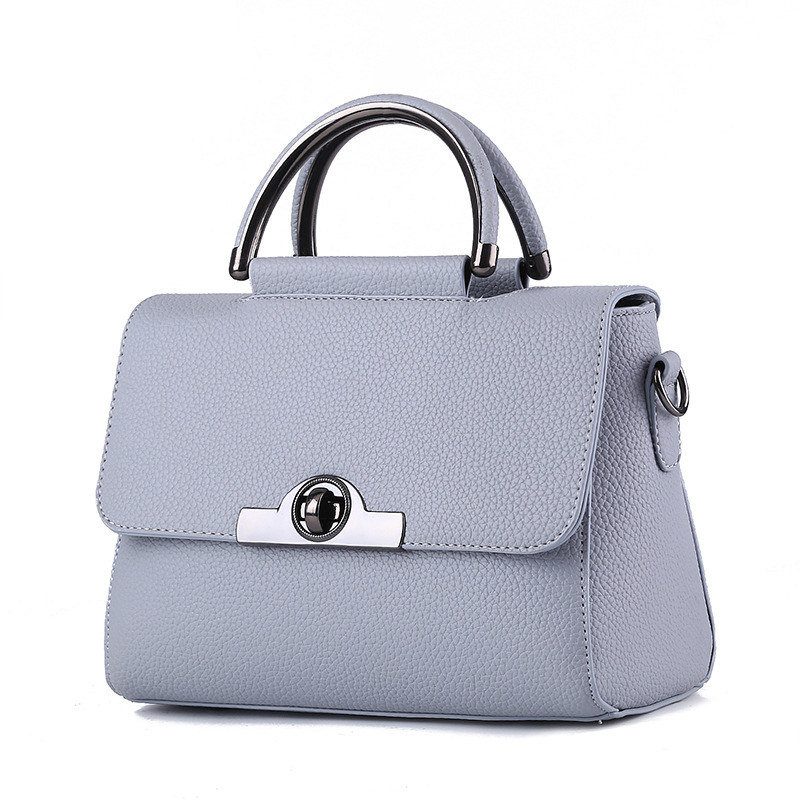 Elegant PU Women Handbag Light Grey Cusual Office Lady Shoulder Bag Crossbody Messenger Twist Turn LockElegant PU Women Handbag Light Grey Cusual Office Lady Shoulder Bag Crossbody Messenger Twist Turn Lock