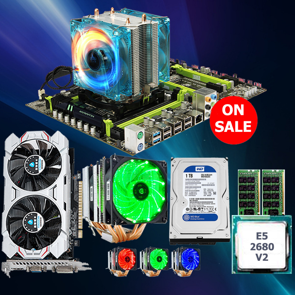 HUANAN ZHI X79 mainboard CPU Xeon E5 2680 V2 with 6 heatpipes cooler RAM 16G(2*8G) DDR3 RECC 1TB 3.5' SATA HDD GTX750Ti 2GD5 VC