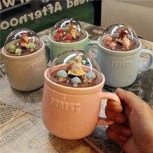 Micro Landschaft Milch Tassen Tier Kaffeetassen 400 ml Kreative Cartoon Tasse Keramik Becher mit Deckel Paare Frühstück Becher Schönheit geschenke