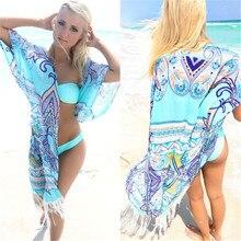Summer Beach Dresses Women Open Kaftan Beach Cover Up Bikini 2019 Cover Dress Tassel Swimwear Bathing Fringed Beachwear Cardigan