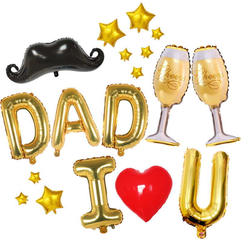 Home Kit Balloon Party 20pcs lot Mustache Crown Balloon Dad Set I Love You Father 39 s Day Print Letter Decoration D20 in Ballons amp Accessories from Home amp Garden