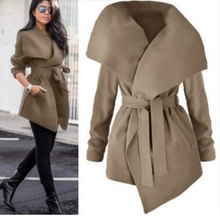 Brieuces 2019 Spring Autumn Fashion Jacket Coat Women Large Lapel Solid Overcoat Long Sleeve Pockets Casual Outerwear Black/Grey black side pockets long sleeves outerwear