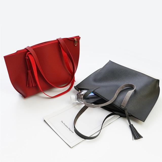 Solid Women's Tote Bag PU Leather Women Handbag Large Capacity Tassel Handbags Fashion Shoulder Bag 1