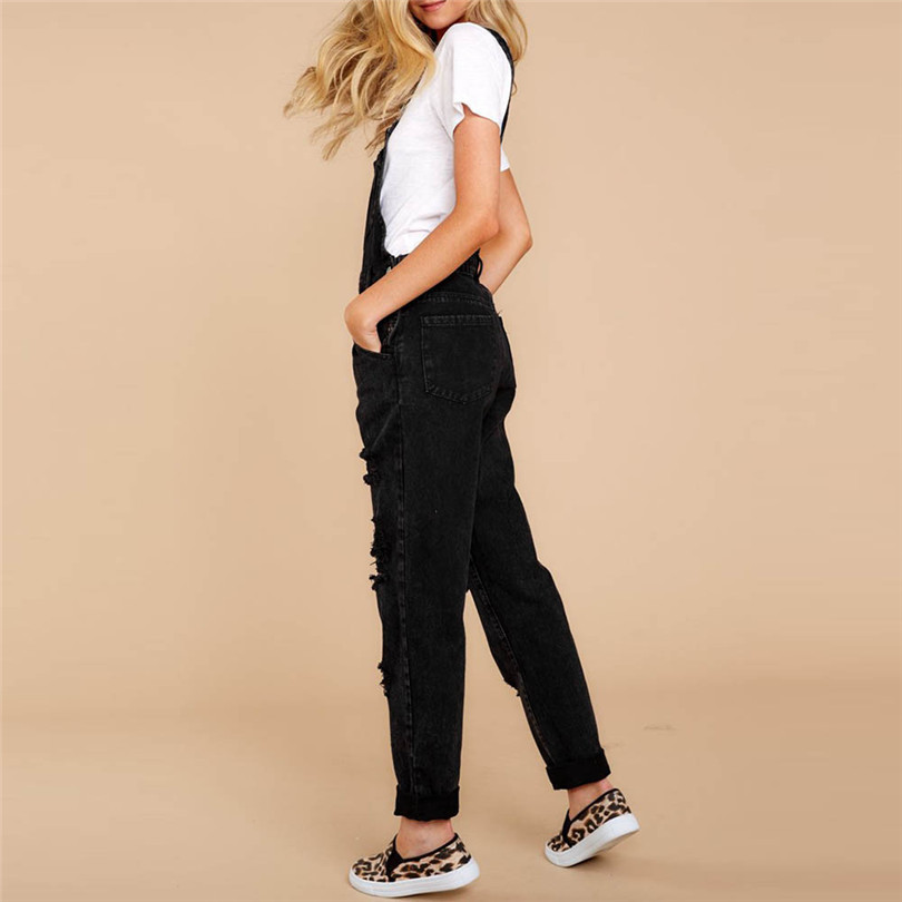 Women Sexy Denim Jeans Summer Fasihon New Autumn Bib Pants Hole Overalls Jeans Straps Demin Trousers Rompers #4F05 (3)
