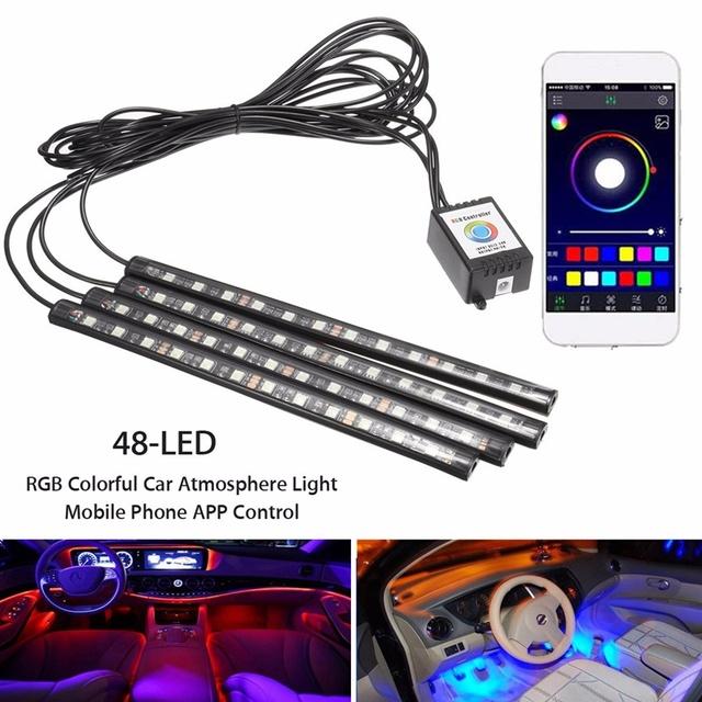 RGB carro LEVOU Faixa de Luz 4 PCS LED Strip Luzes 16 cores Lâmpadas Car Interior Luz Decorativa Atmosfera Aplicativo de Telefone Música controle