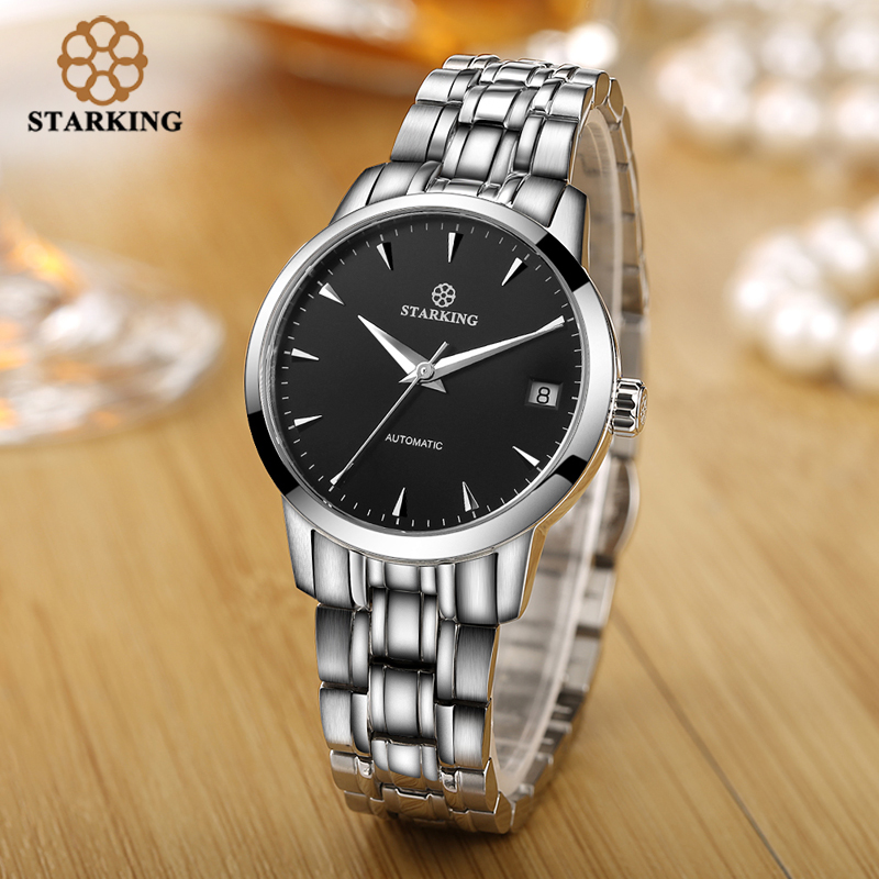Image 4 - StarKing Classic Women Simple Watch Automatic Stainless Steel White Dial WristWatch Auto Date Ladies Mechanical Relogio Feminino-in Women's Watches from Watches