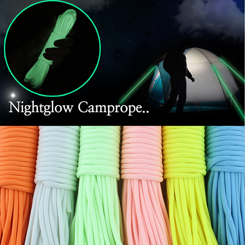 20m 9 Strands Cord Luminous Glowing Nylon Paracord Parachute Rope For Outdoor Climbing Camping Buckle Rope