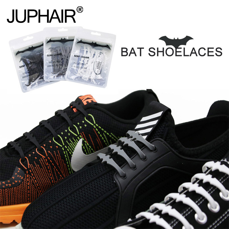 JUP 1 Set 16 Roots Silicone lazy laces Cool Bats Laces Adult-free Elastic Laces Patented Product No Tie Shoelaces Rubber Slip jup 1 set 16 pcs adult novelty no necktie shoelaces elastic silicone leather laces men womens all sneakers fit belt cheap price