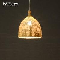 Willlustr bamboo pendant lamp dinning living room suspension light handmade wicker basket hotel hall restaurant hang lighting