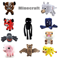 2017 New Minecraft Plush Toys Enderman Ocelot Pig Sheep Bat Mooshroom Squid Spider Wolf Animal soft stuffed dolls kids toy gift