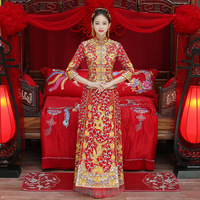 Embroidery Dragon Phoenix Red Bride Long Cheongsam Dress Traditional Wedding Qipao Chinese Style Marry Dresses Vestido Oriental