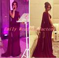 Myriam Fares Burgundy Celebrity Dresses 2017 Mermaid Saudi Arabic Evening Dress with Watteau Train Dubai Prom Party Gowns