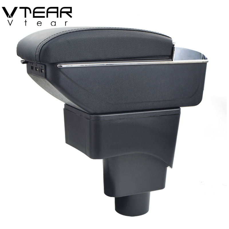 Vtear For Ford Ecosport armrest box USB Charging heighten Double layer central Store content cup holder