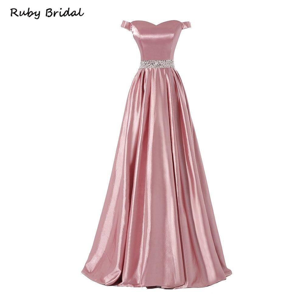 ad98a638ac7 Ruby Bridal 2017 Vestidos De Fiesta A-line Long Flesh Pink Taffeta Beaded  Evening Dresses
