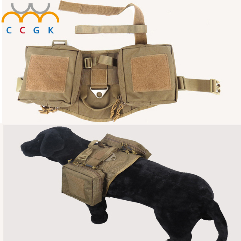 Outdoor Protection Tactical Dog Vests Military Dog Clothes Load Bearing Harness SWAT Dog Training rescue Molle 1000D Nylon Vest
