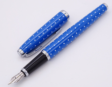 L&M Wave Points Metal Fashion Blue Fountain Pen Silver Clip Quality School Ink Pen Smooth Iridium Fine 0.5mm Writing Gift Pen fountain pen 760 gold black lea clip iridium fountain pen damings pen