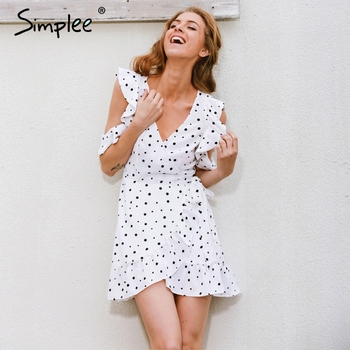 Simplee Ruffle cold shoulder polkadot print summer dress Vintage irregular bow wrap short dress Women chic chiffon white dress