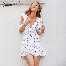 Simplee с открытыми плечами и оборками в горошек печати летнее платье старинные нерегулярные лук Wrap короткое платье женщин Chic шифон белое платье