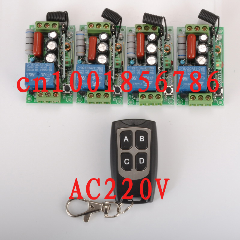 wireless Power Switch System 4 Receiver& Transmitter 220V 1CH 10A output state is adjusted 1CH 1000W Non-Latched/self-Latched power system power system l carnitine fire 54000 1000
