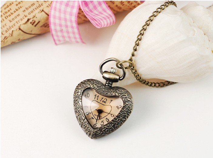 Image of: Rose New Cute Vintage Women Necklace Watch Roman Numerals Love Heart Pocket Watch Aliexpress New Cute Vintage Women Necklace Watch Roman Numerals Love Heart