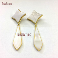 New Geometric Style Earrings White Shell Gold Electroplated Rhombus Shape Long Stud Earrings ER10424
