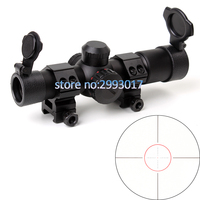 4 5x20E Compact Hunting Rifle Scope Red Illuminated Glass Etched Reticle Riflescope With Flip Open Lens