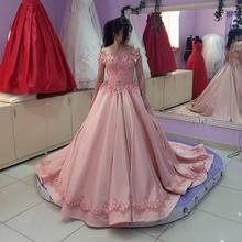 2017 Chegada Nova Fora do Ombro vestido de Baile Vestidos de Noite Rosa Lace Apliques Festa Formal Vestidos Robe de soiree(China (Mainland))