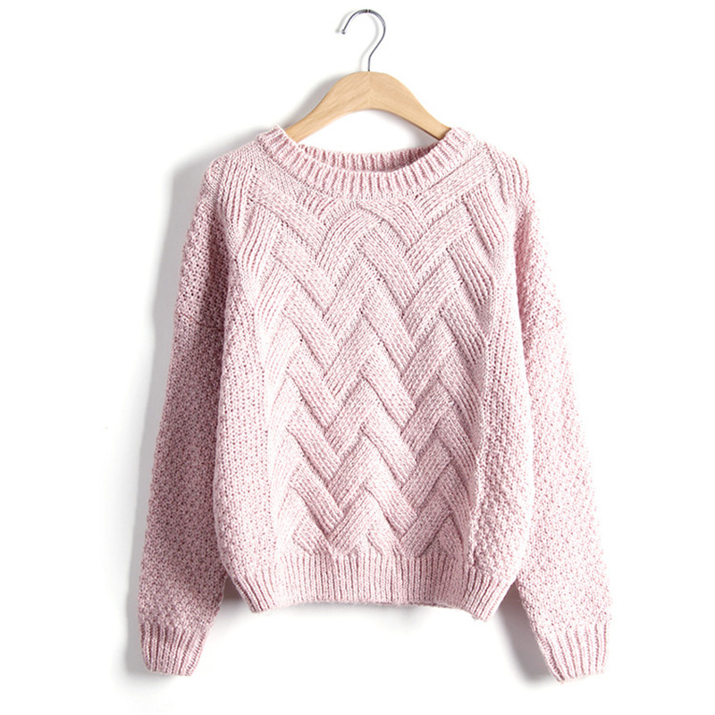 2017 Autumn Winter Women Fashion Sweaters and Pullovers Plaid Thick Knitting Sweater Female Loose Casual Tops Jumpers