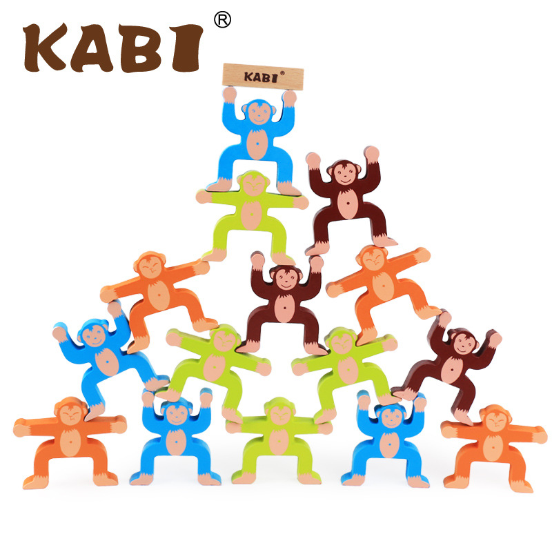 new arrive baby cartoon toys wooden blocks monkey balance blocks game wooden toys 1 2 3 years old baby gift MG102 baby gift imported wood color large blocks 1 2 3 6 years old early childhood educational toys