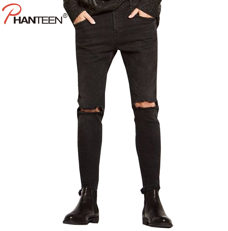 Phanteen Slim Fit Black Color Man Jeans Knee Ripped Hole Skinny Elastic Rock And Roll Jeans