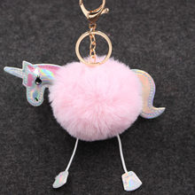 2018 Cute Fluffy Fur Unicorn Keychain Faux Rabbit Fur Ball Pom Pom Horse Key Chains Bag Charms Trinket Car Key Ring Gift(China)