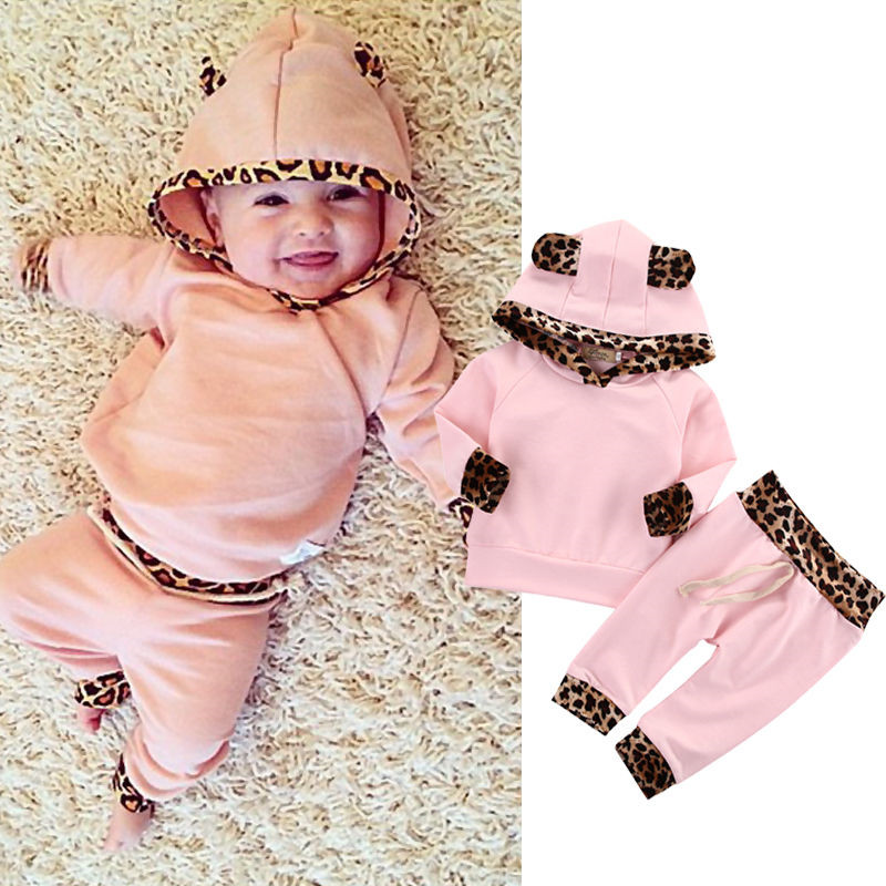 Cute Pink Baby Girls Clothes Newborn Infant Bebek Hooded Sweatshirt Tops+Pants Leopard 2pcs Outfits Tracksuit Kids Clothing Set