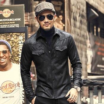 leather Jacket Shirts Men Plus velvet camisa social masculina Brand warm Slim Fit men black shirt long sleeve Autumn NEW monochrome