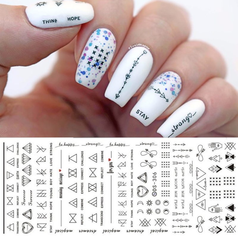 1 Sheet Letter Nail Art Water Decals Geometric Figure Nail
