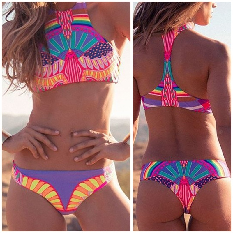 Sexy Women Brazilian Bikini High Neck Halter Print Slim Vintage Beach Two-Piece Suit Swimwear Bathing Swimsuit Bikini Set BB55