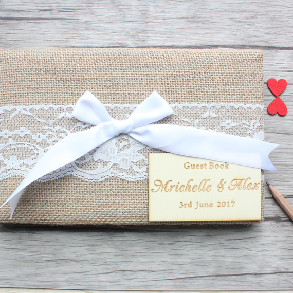 Custom Burlap Wedding Guest Book Alternative,Personalized name and date Wedding Guest Book Sign Guestbook,Wedding Gift Decor