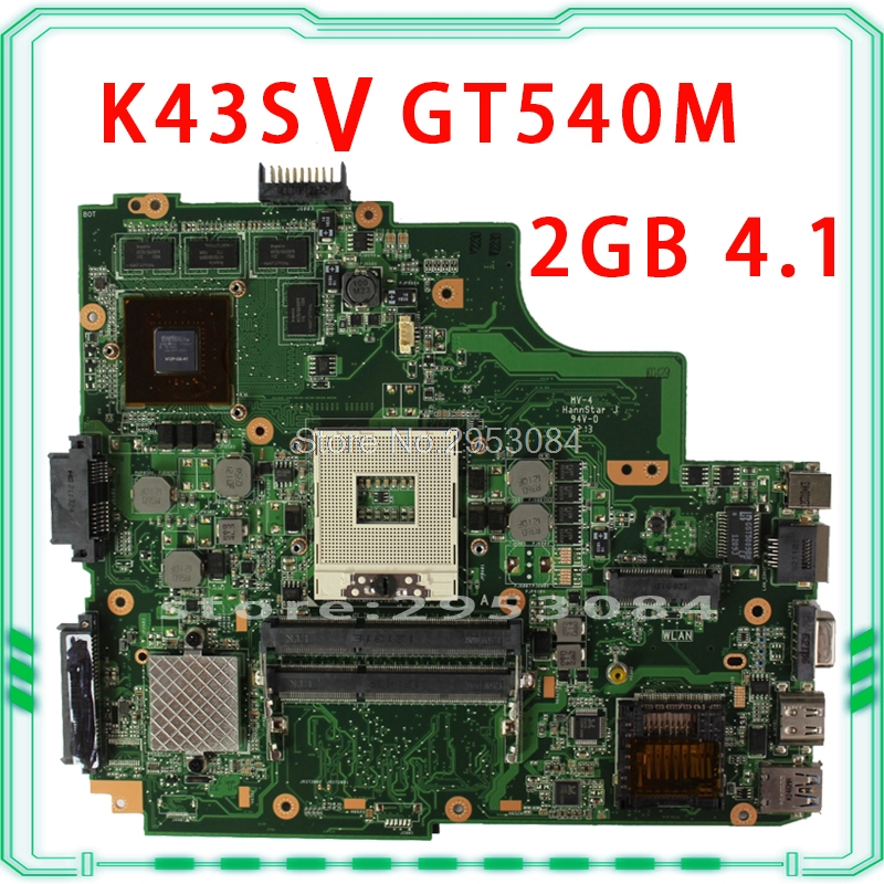 Laptop motherboard For Asus K43SJ K43SV A43S X43S Main board HM65 N12P-GS-A1 REV4.1 GT540M 2GB USB3.0 DDR3 VRAM 100% fully test