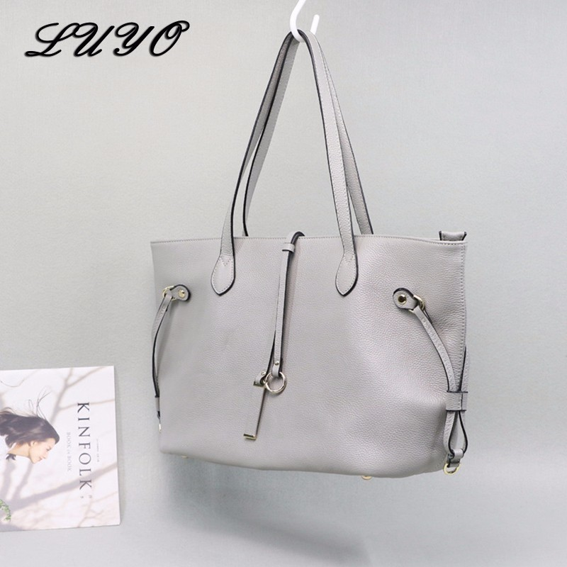 LUYO Genuine Leather Large Capacity Shopping Bag Female Girls Shoulder Top-handle Bags Designer Ladies Handbags High Quality Big 2018 new women bag ladies shoulder bag high quality pu leather ladies handbag large capacity tote big female shopping bag ll491